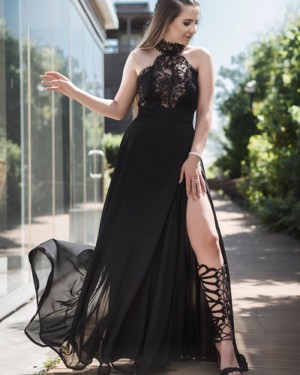 Black Lace Bodice Tulle High Neck Prom Dress pd1611