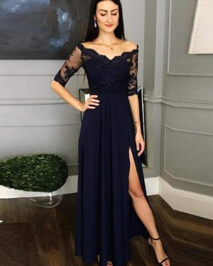 Navy Blue Lace Bodice Prom Dress with Half Length Sleeves pd1618