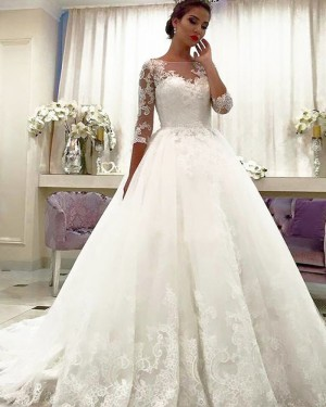 Ball Gown Bateau Neck Lace Appliqued Wedding Dress with Half Length Sleeves WD2066